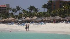 Activities on Palm beach, Aruba Stock Footage