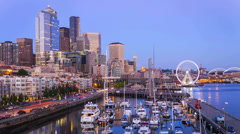 Seattle Skyline & Waterfront Sunset, Cityscape Time Lapse Stock Footage
