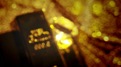 Gold bars, coins and riches.  A scene of cluttered treasure and diamonds.  Stock Footage