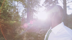 Green environmental business concept with person in nature. Corporate - stock footage