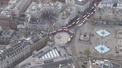 Aerial view of the famous Trafalgar Square in London Stock Footage