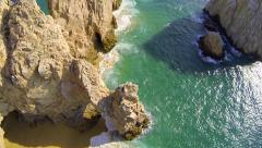 Cabo aerial view straight down over the arch at lands end Stock Footage