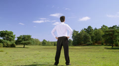 Businessman with nature. Corporate responsibility concept. Stock Footage