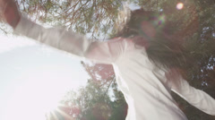 Businesswoman enjoying the freedom of nature. Environmental business concept - stock footage