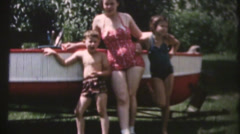 Vintage  movies, 1957 new boat Stock Footage