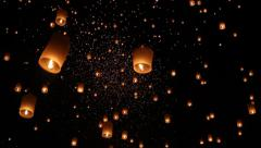 Floating lanterns in ChiangMai ,Thailand Stock Footage