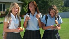 Three Pretty Uniformed Teen School Girls Talking, Texting - stock footage