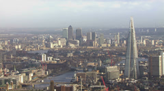 Panoramic aerial view of the London skyline and famous London skyscrapers Stock Footage