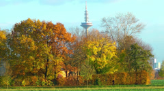 Huge Tower and the Trees Stock Footage