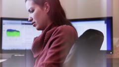 Woman working at office Stock Footage