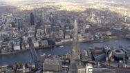 Stock Video Footage of Aerial view of the London skyline and famous London skyscrapers