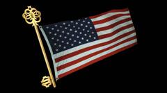 Usa Flag With Key Animation Stock Footage