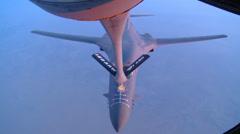 KC-135R Stratotanker Refuels B-1B Lancer Over Afghanistan Stock Footage