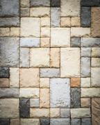 sandstone brick wall - stock photo