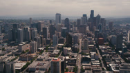 Stock Video Footage of Wide aerial shot following 3rd Avenue toward Downtown Seattle skyscrapers