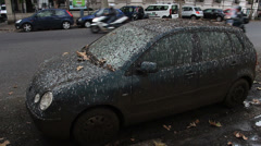 Black car covered in bird pooh in Rome 4 Stock Footage