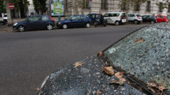 Black car covered in bird pooh in Rome 5 (tilt) Stock Footage