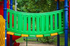 walk bridge on kids playground - stock photo