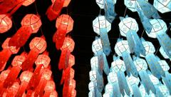 Thai lanterns in loi krathong festival of chiang mai thailand Stock Footage