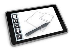 Stock Illustration of drawing on mobile device