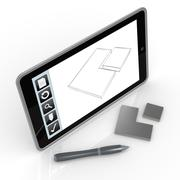drawing on mobile device - stock illustration