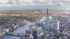 Panoramic aerial view of the London skyline and famous London skyscrapers - stock footage