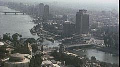 CAIRO EGYPT SKYLINE NILE RIVER Cityscape 1970s Vintage Film Home Movie 7351 Stock Footage
