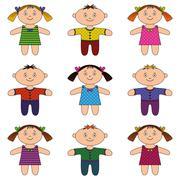 Children, boys and girls, set Stock Illustration