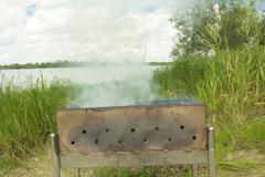 brazier for kebabs on the banks of rhenium - stock photo