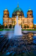 berlin cathedral, at dusk - stock photo