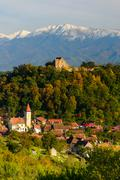 Stock Photo of cisnadioara village in transylvania, romania