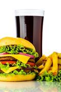 Hamburger, french fries and cola Stock Photos