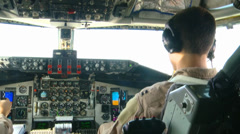 KC-135R Stratotanker pilots Refuels B-1B Lancer Over Afghanistan Stock Footage