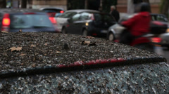 Black car covered in bird pooh in Rome 9 Stock Footage