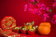 Chinese new year decorations,generci chinese character symbolizes gong xi fa  Stock Photos