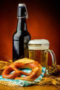 Stock Photo of bretzel and beer