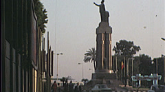 Unity Statue Monument CAIRO EGYPT Street 1970s Vintage Film Home Movie 7355 Stock Footage