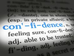 Dictionary - Confidence - Blue On White - stock illustration