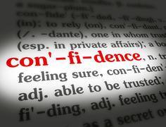 Dictionary - Confidence - Red On White - stock illustration