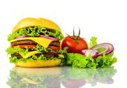 Stock Photo of traditonal burger and vegetables