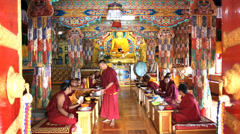 Buddhist monks dinning in temple Matho Monastery, Ladakh, India                 Stock Footage