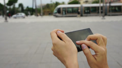 Close up of a woman hands holding and touching smartphone HD - stock footage