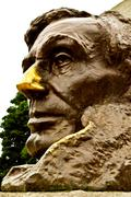 abraham lincoln memorial - lincoln stares - stock photo