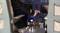 Pilot Operating the Throttle for Taking Off Stock Footage