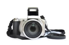 Grey camera isolated on a white background Stock Photos