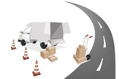 Hand Truck Loading Shipping Box into A Van Stock Illustration