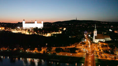 View of the old castle in Bratislava, Slovakia. Stock Footage
