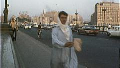 CAIRO EGYPT Street Scene Man Walks 1970s Vintage Film Home Movie 7360 Stock Footage