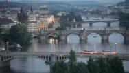 Stock Video Footage of tram passes on the bridge through Vltava in Prague, the Czech Republic