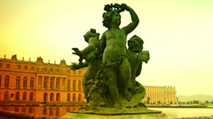 Versailles pool is decorated with statues symbolising the rivers of France - stock footage